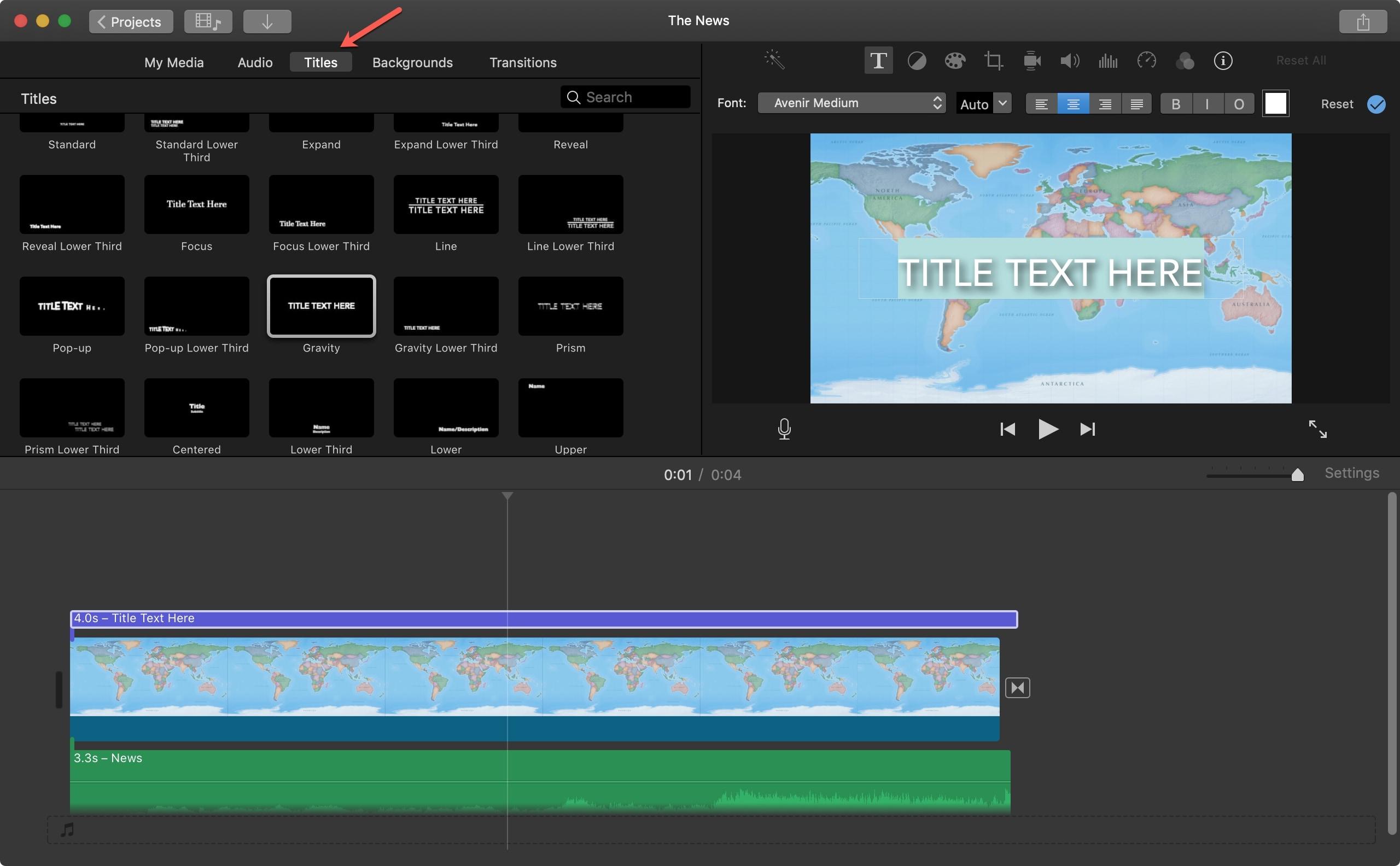 Mac iMovie başlığı ekleyin