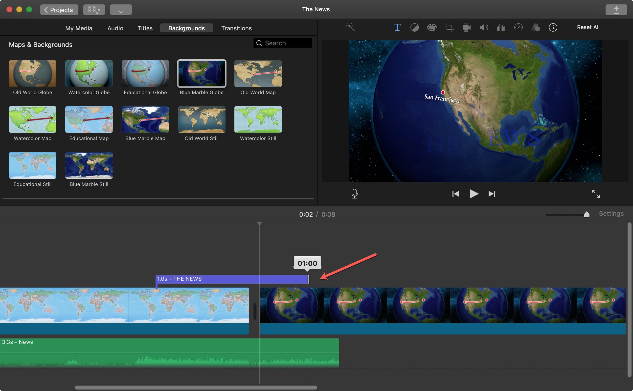Mac iMovie başlığının süresini ayarlama