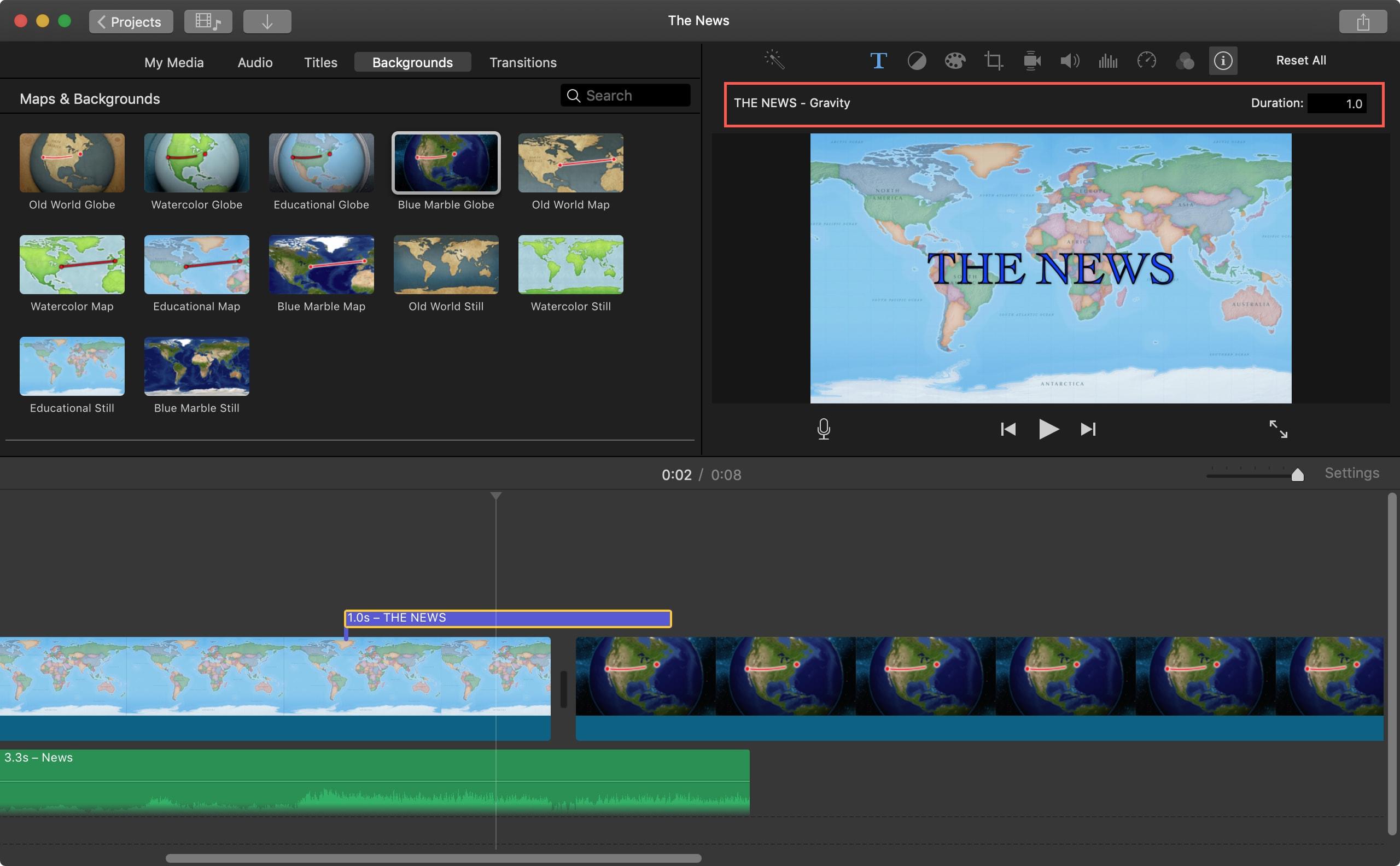 Tür Başlık Süre iMovie Mac