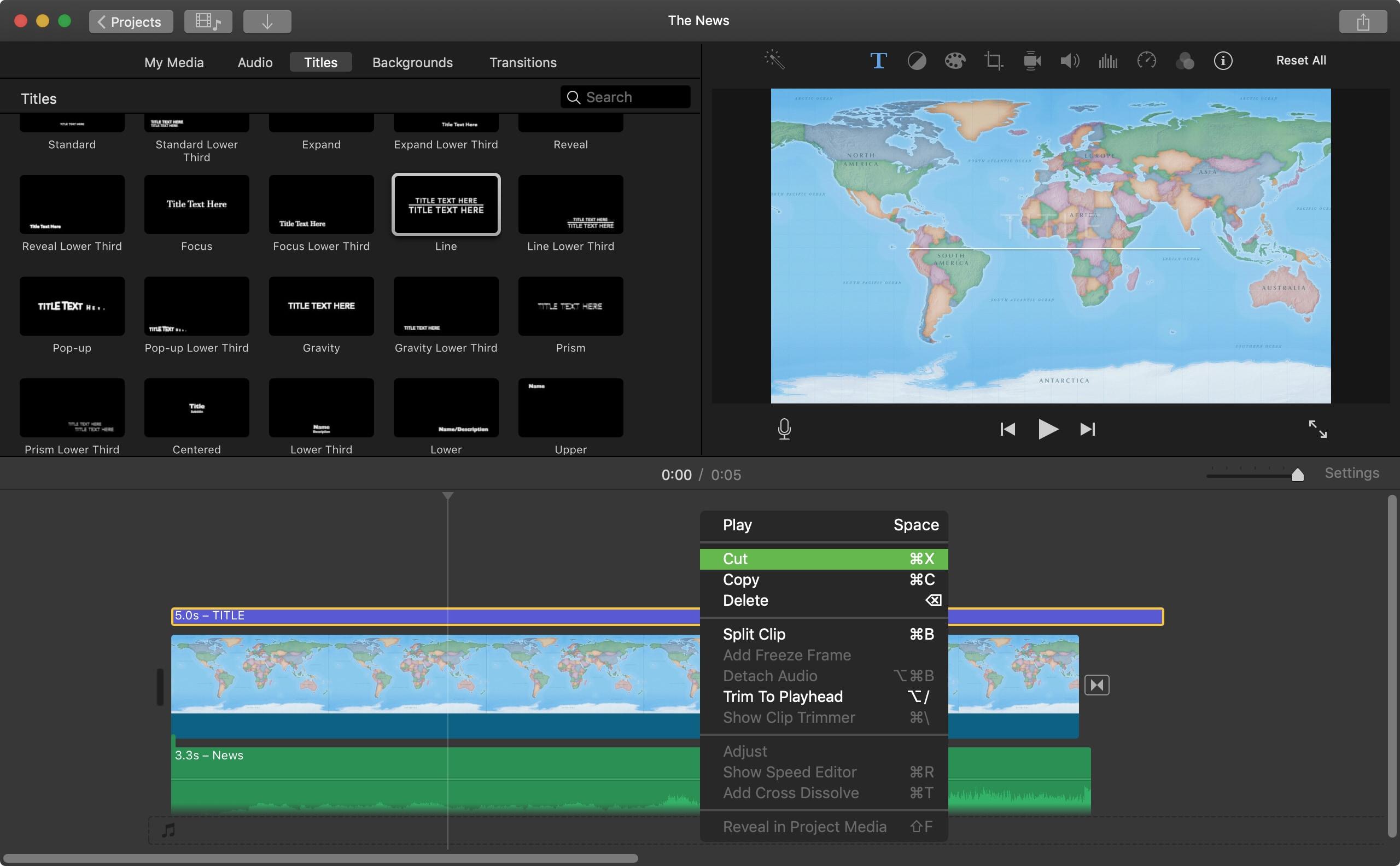 Başlığı iMovie Mac'ten kaldır