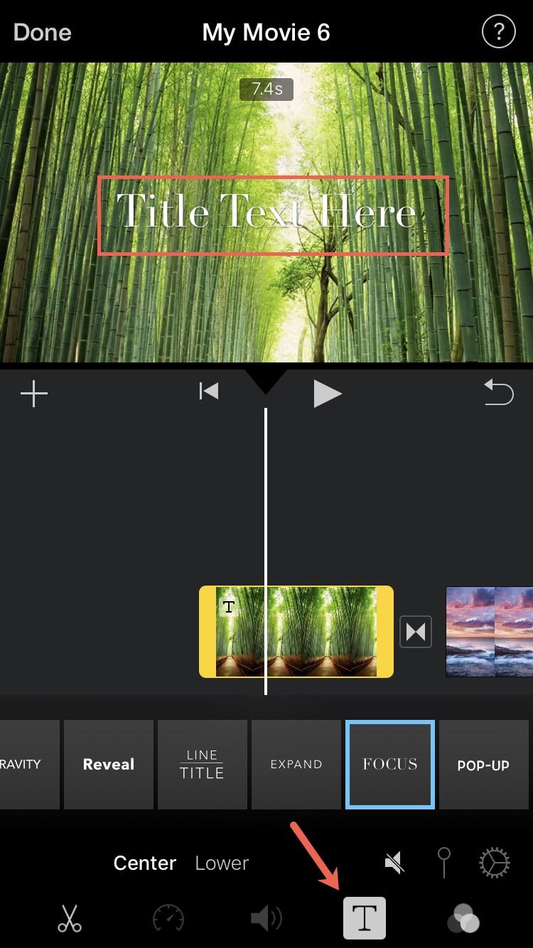İMovie iPhone başlığı ekle