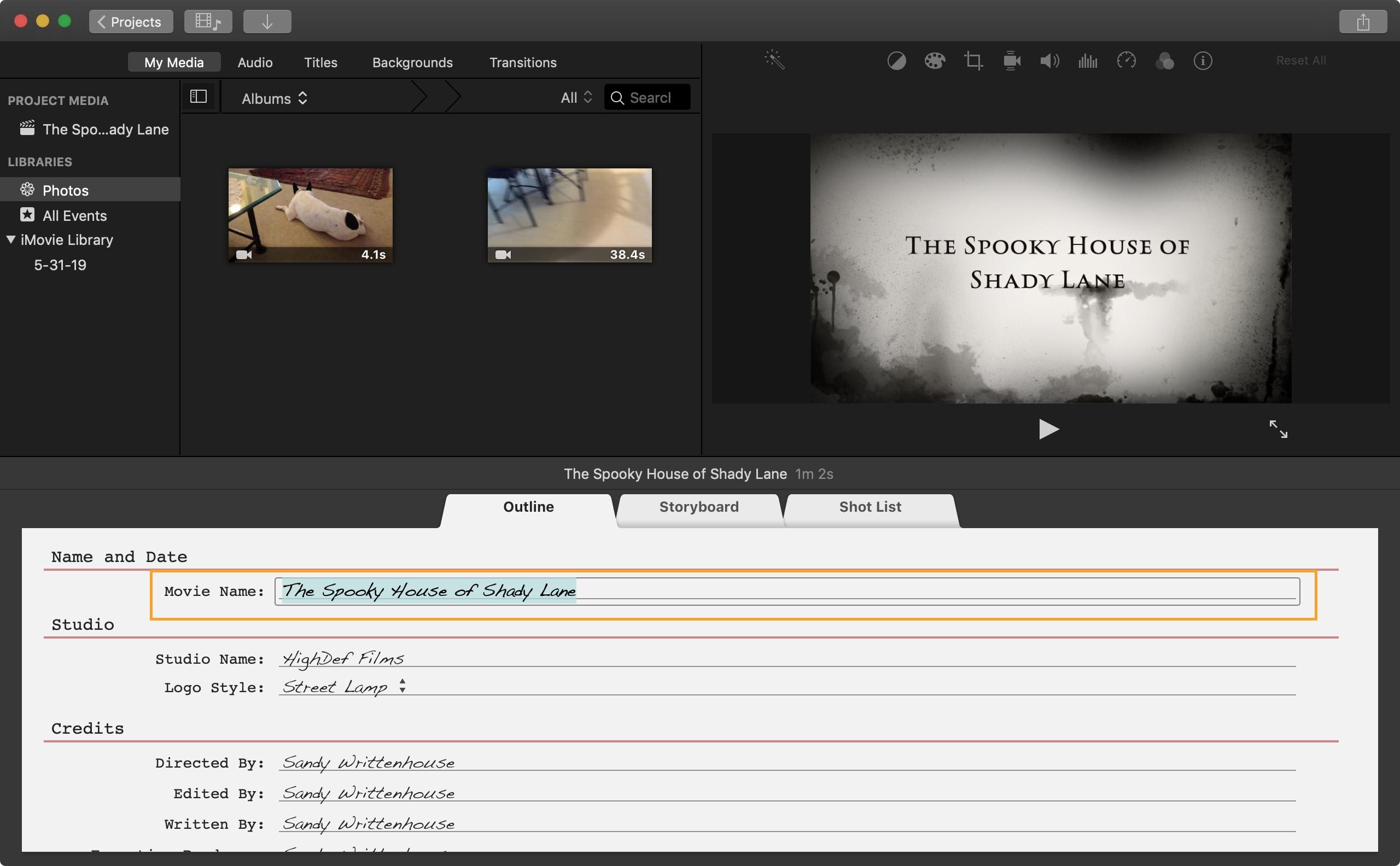 İMovie Mac fragman başlığı