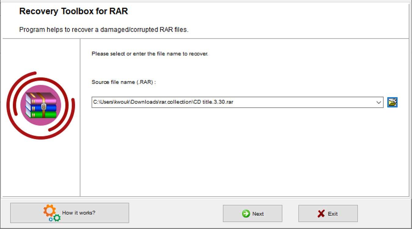 Rar Recovery Toolbox Valitse tiedosto