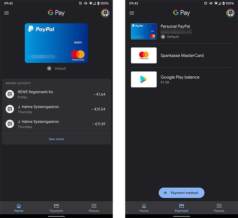 Google Pay es modo oscuro