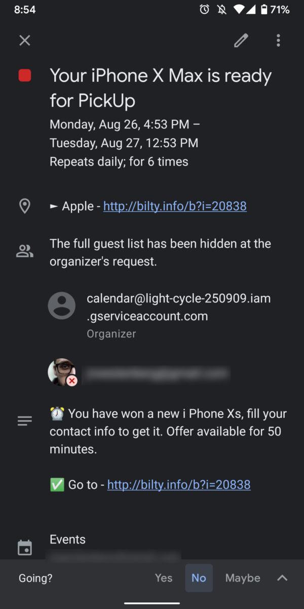 Váš kalendár Google Spam iPhone X Max je pripravený na použitie