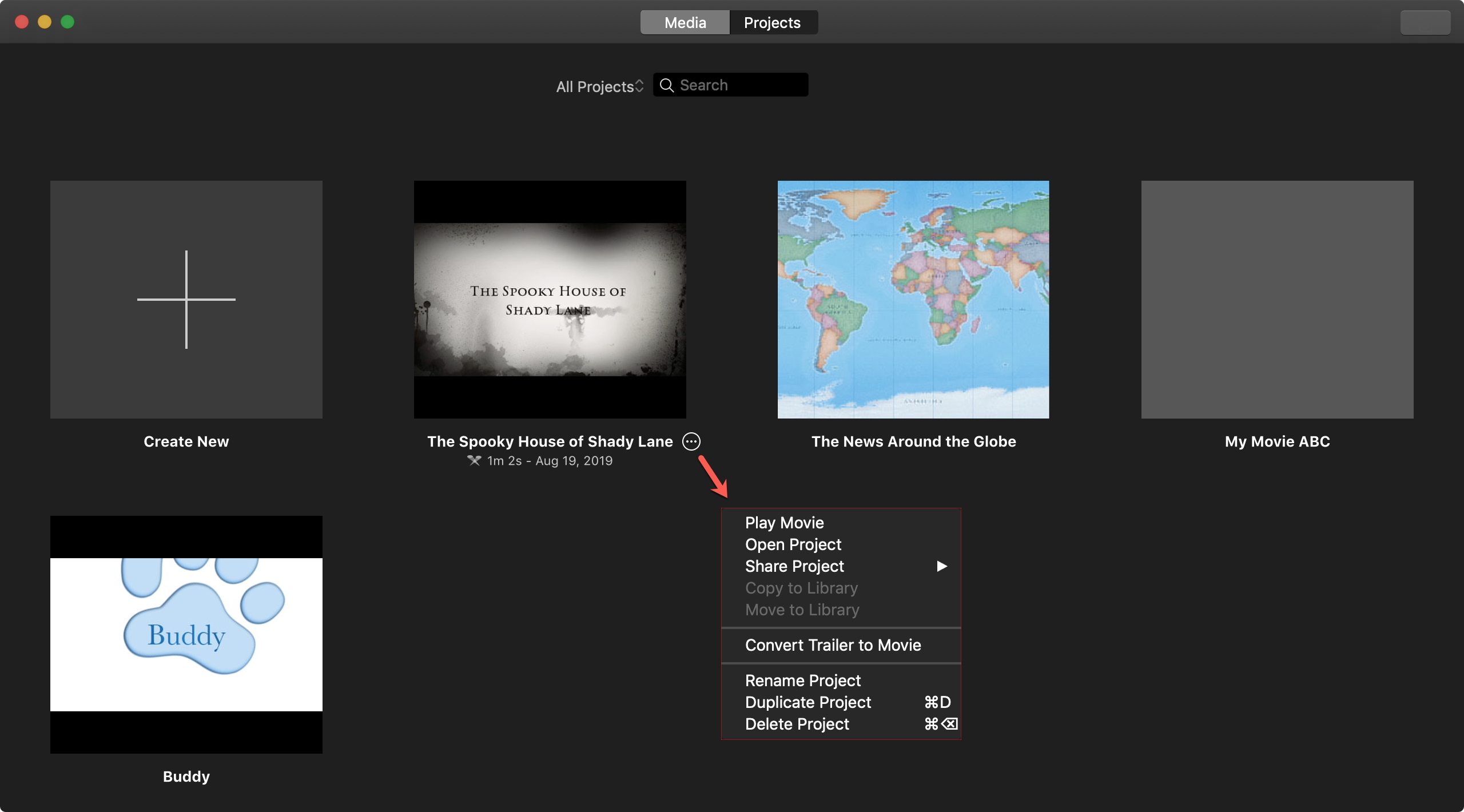Mac iMovie project actions