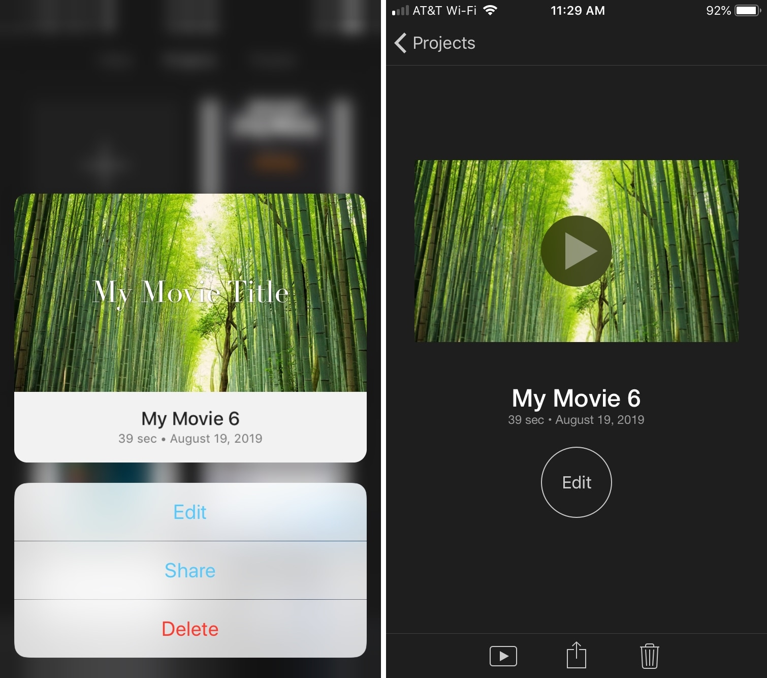 Actions of the iPhone iMovie project