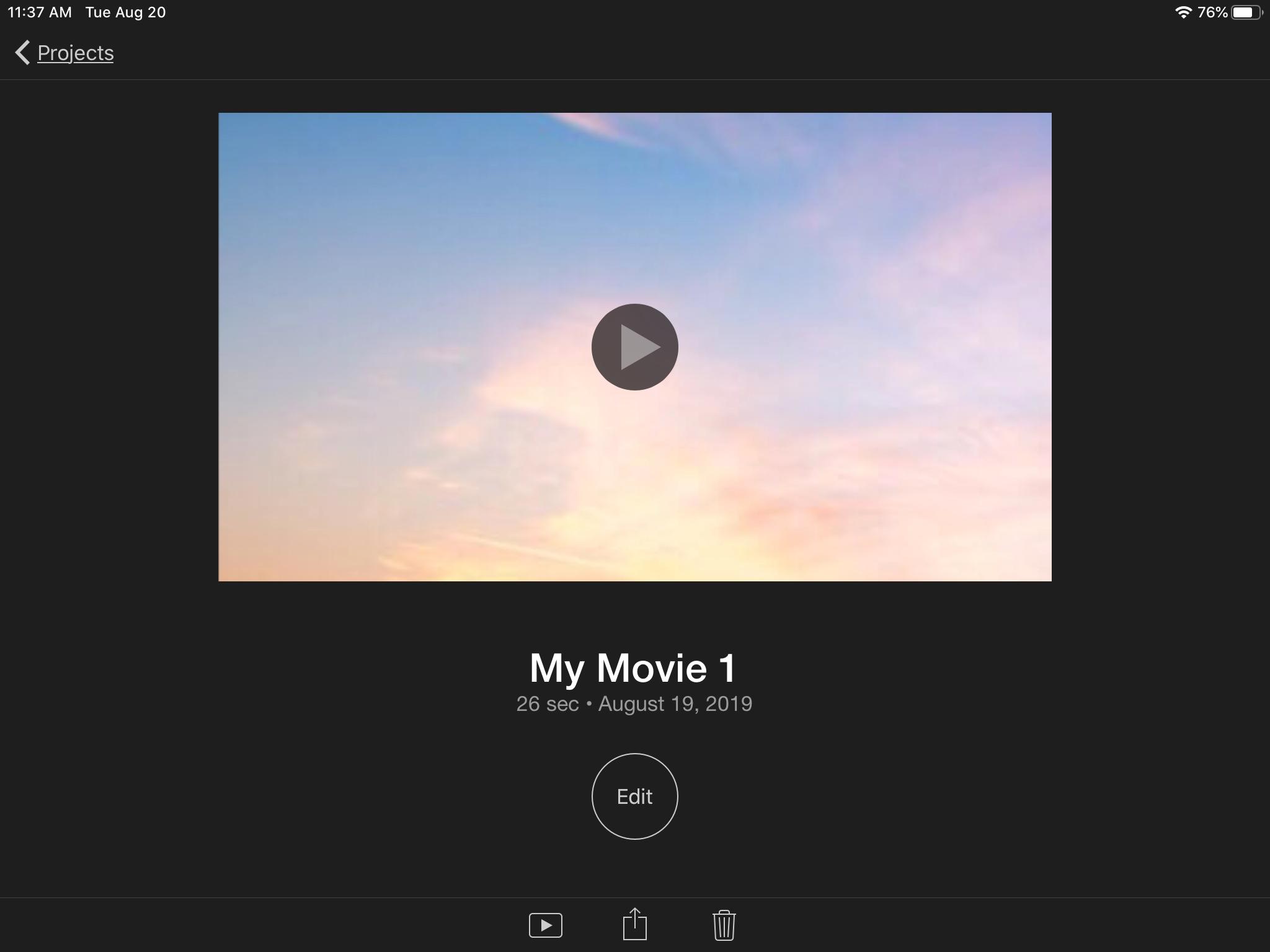 IPad iMovie project actions