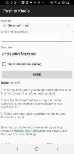 Web pre Android pre Kindle Stlačením tlačidla Kindle elektronická pošta