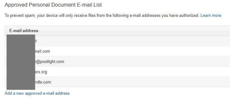 Web pre Android pre Kindle Schválená e-mailová adresa