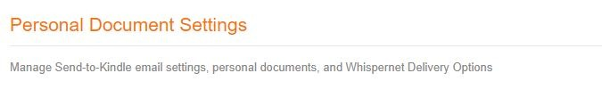 Web pre Android pre Kindle Nastavenia osobného dokumentu