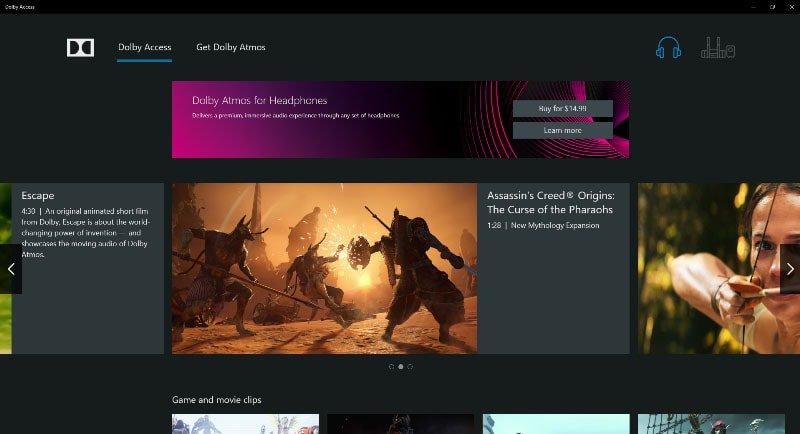 Dolby Atmos'u quraşdırın Windows Dolby Access tətbiqi ilə 10 kompüter 4