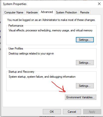 Buka variabel Lingkungan pada WIndows 10