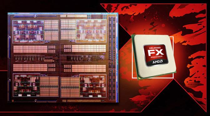 AMD FX swoosh and Bulldozer die