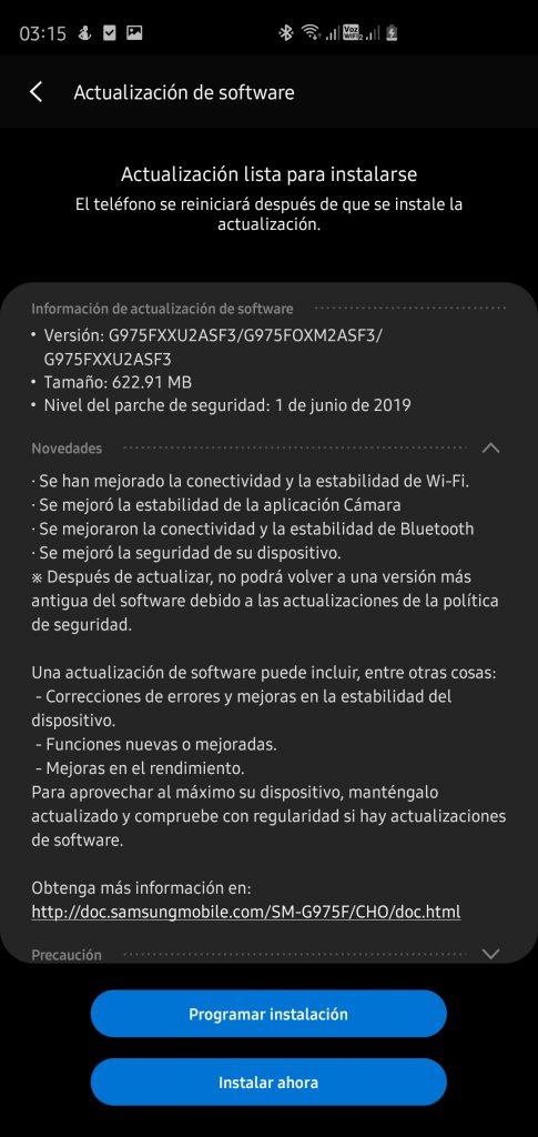 Samsung Galaxy S10 + y Galaxy S8 + menerima patch keamanan Juni dan Entel 4G Voice dan dukungan Wi-Fi Voice 2