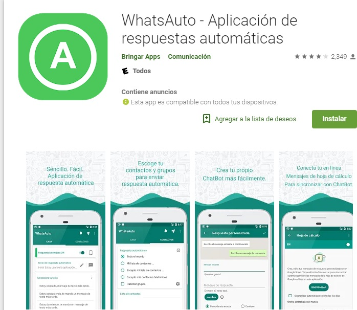 Whasauto uygulaması WhatsApp için otomatik bir cevaptır