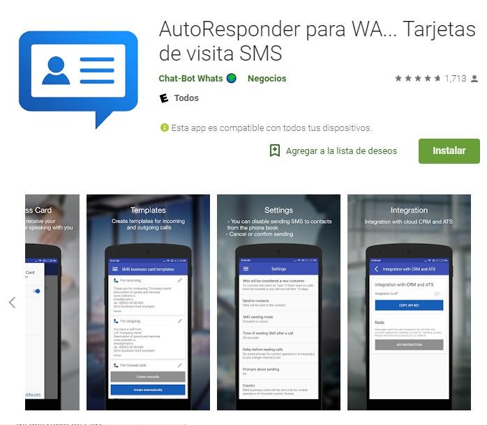 Kartvizitler için otomatik yanıtlayıcı WA, sms