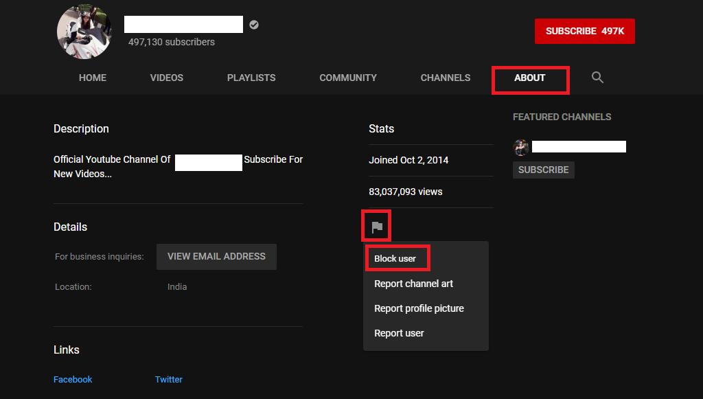 Chặn YouTube Kênh trên PC