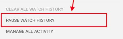 Tạm dừng lịch sử đồng hồ hoạt động YouTube