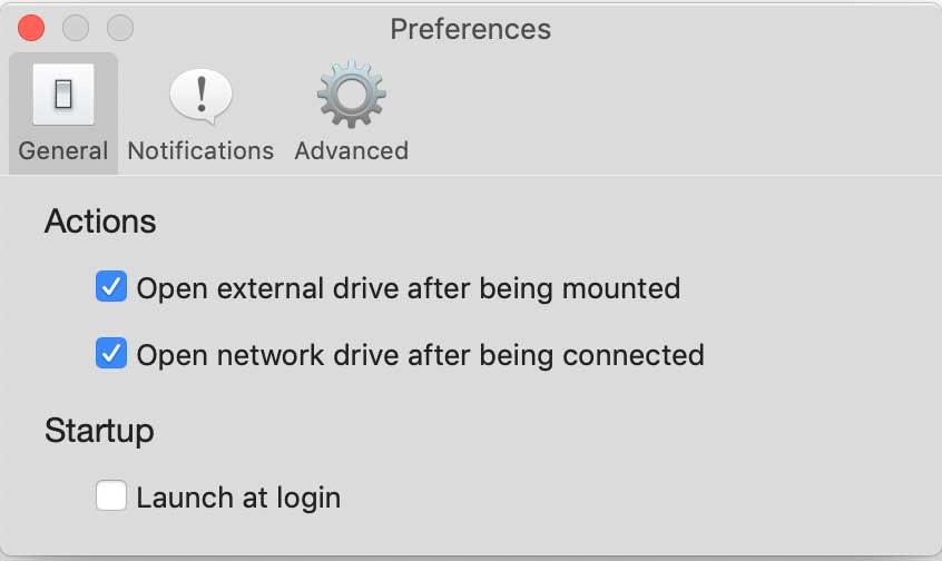 Predvoľby aplikácie Iboysoft Drive Manager