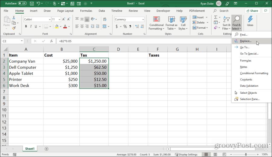 Excel-də formula simvollarını əvəz edin