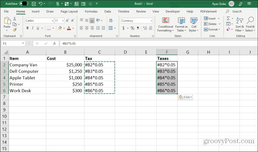 Redaktə edilən düsturu Excel-ə yapışdırın