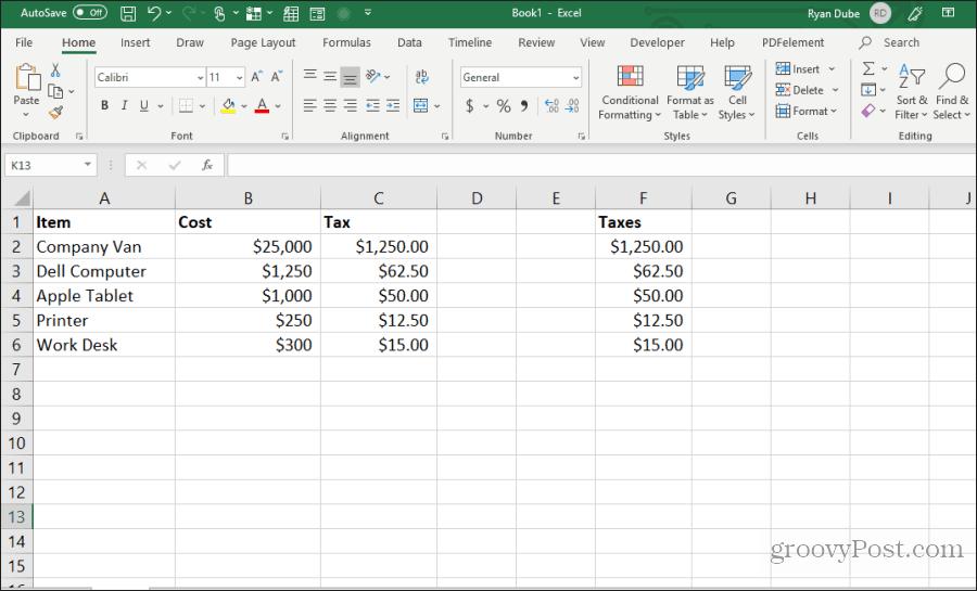 Formula hüceyrələri kopyalanır və Excel-ə yapışdırılır