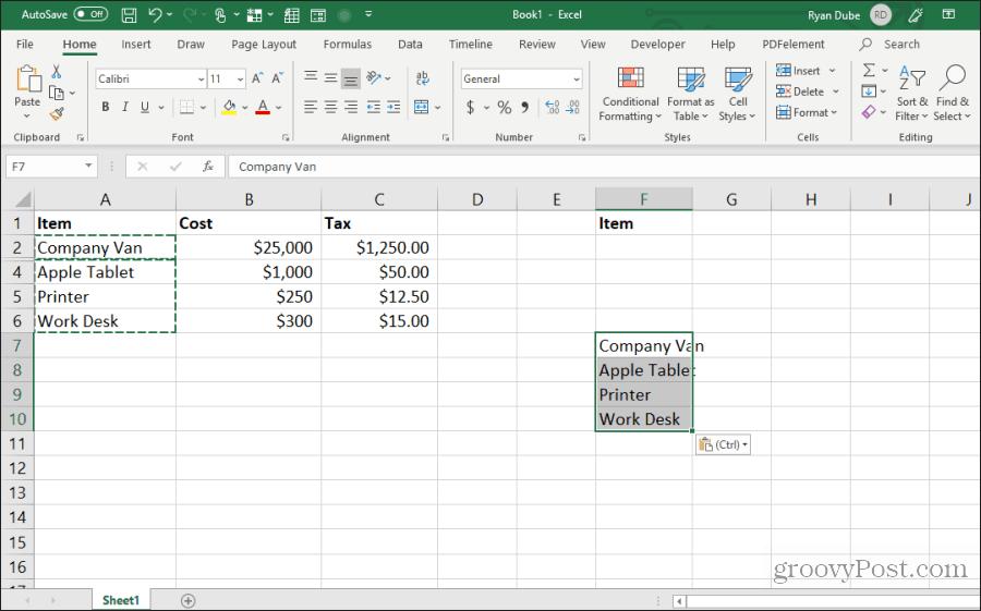 Excel-də görünən hücrələri əlavə edin