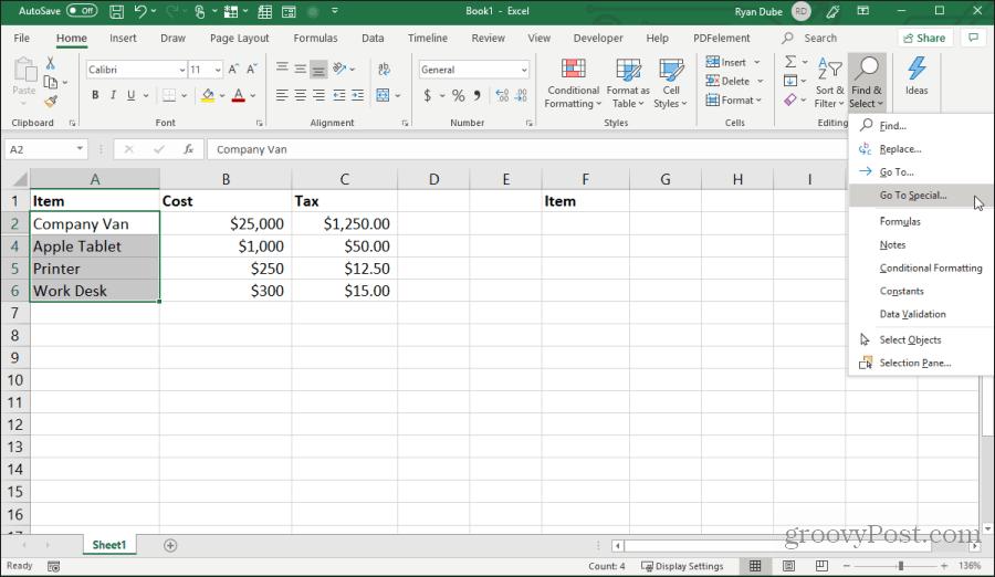 Excel-də promosyonlara getməyi seçin