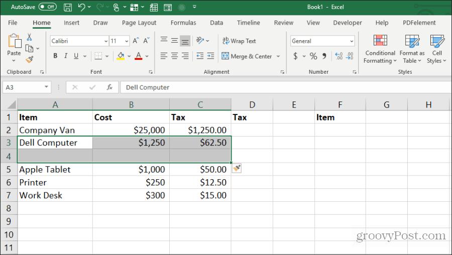 Excel-də boş hüceyrələr daxil edin