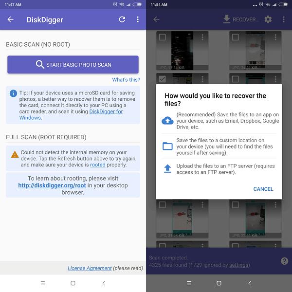 DiskDigger- Aplikasi pemulihan foto terbaik untuk ponsel android tanpa rooting