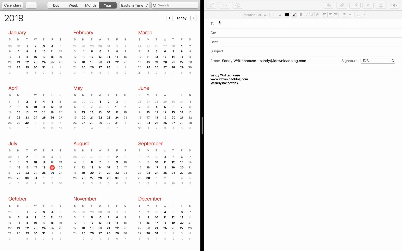 Mac E-Mail-Kalender mit geteilter Ansicht
