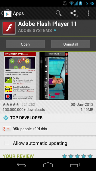 Adobe Flash Player ar gyfer Android 4.1 / Android 5.0