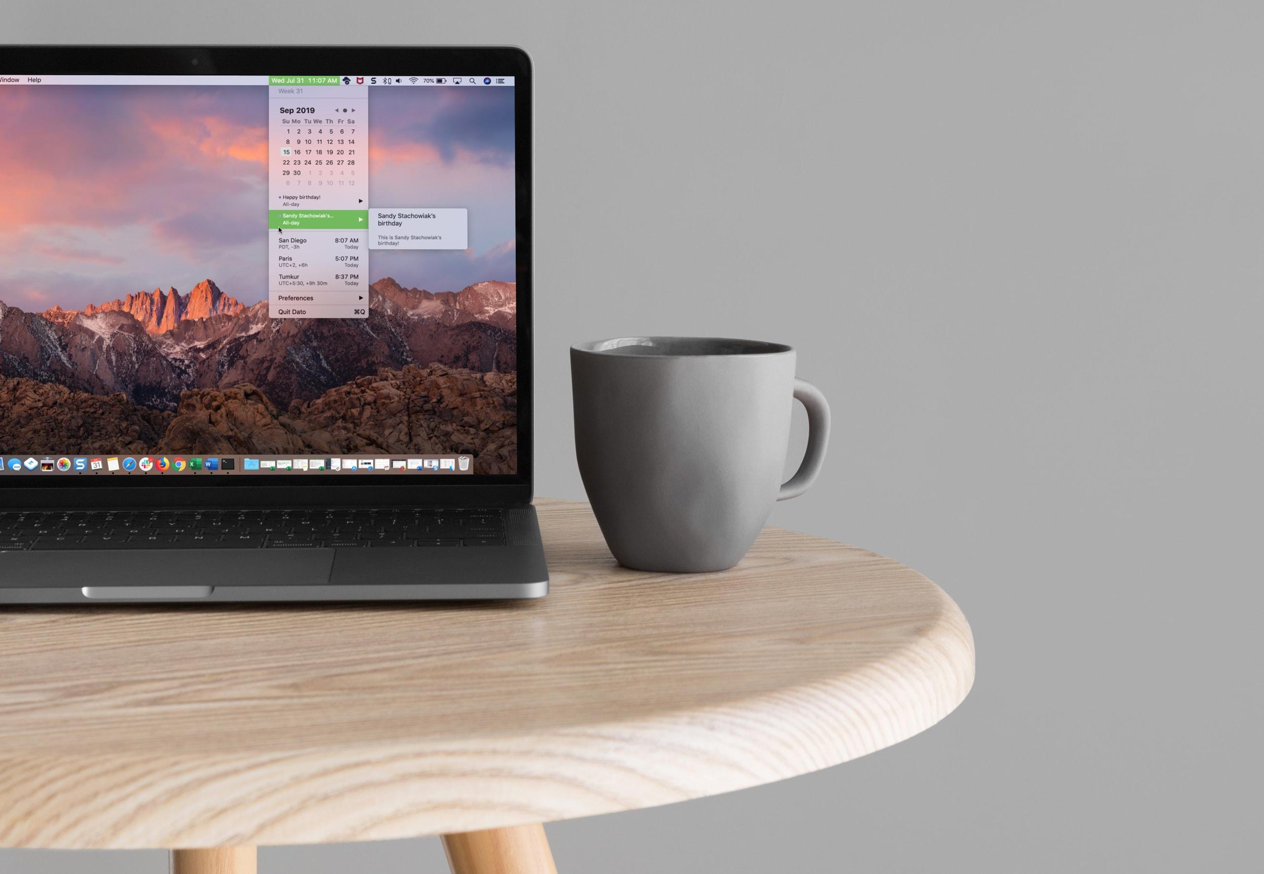 MacBook-Bildschirm mit Dato-Anwendung