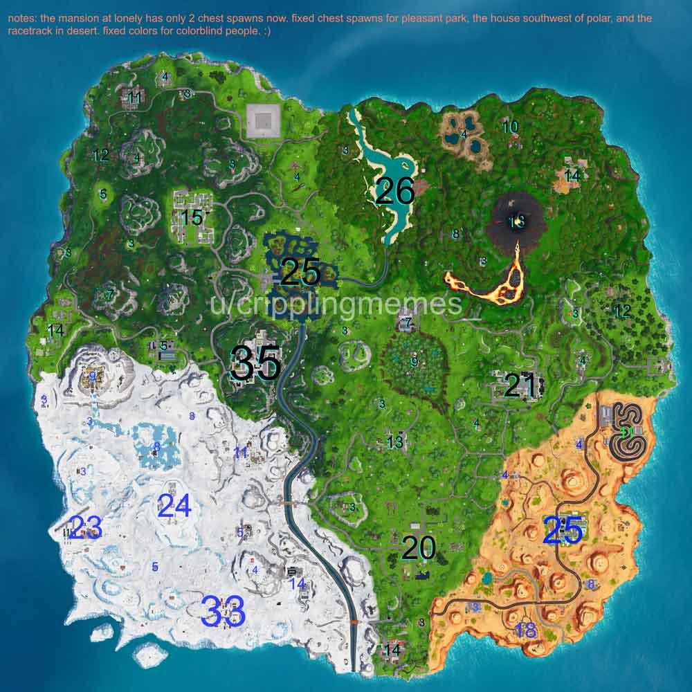 """¿En qué ubicaciones o ubicaciones hay más cofres en Fortnite 3""""ancho ="""" 1000 """"altura ="""" 1000"""