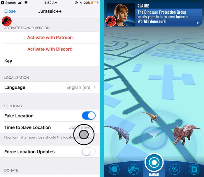 GPS Joystick Palsu untuk Jurassic World Alive di iOS tanpa Jailbreak