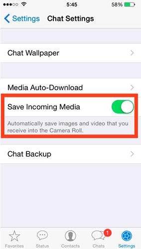 WhatsApp, foto, video və multimedia fayllarının avtomatik saxlanmasını deaktiv edin. 3