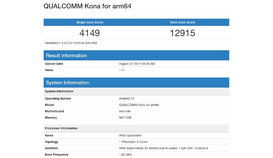 Qualcomm Kona Snapdragon 865
