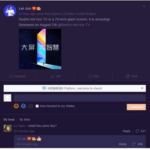 Poznámka Redmi 8  sa začne v Číne 29. augusta s Redmi TV 2