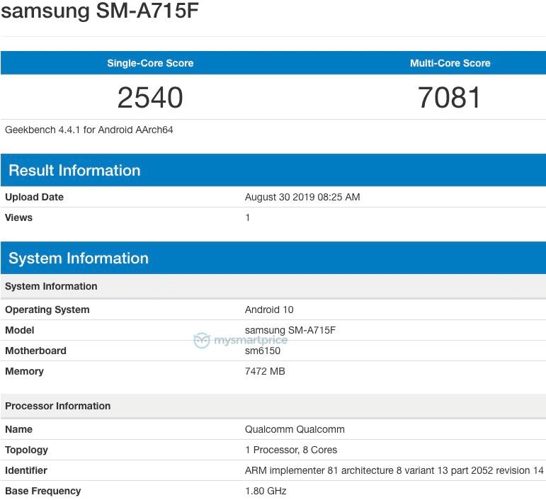 Samsung Galaxy A71 ilə Geekbench görünür 8 GB  RAM, Android 10 1