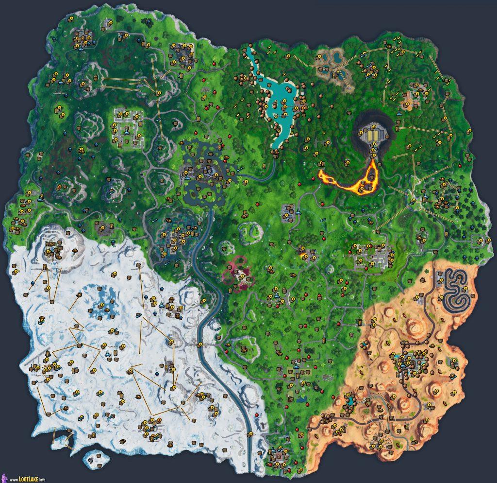 Комплетна мапа на локација Fortnite Сезона 10 - Градите, машините за вендинг, возила и повеќе 1