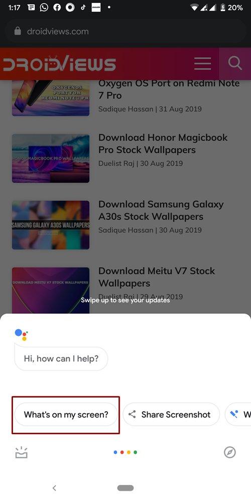 Có gì trên màn hình của tôi? Google Assistant