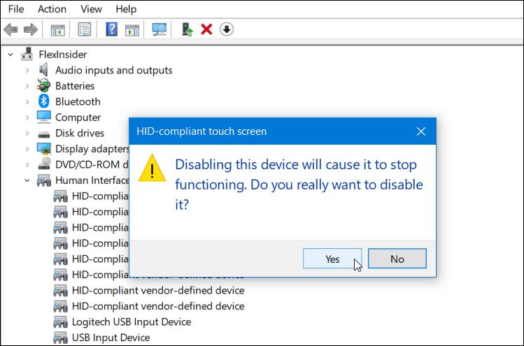 Kosketusnäytön poistaminen käytöstä käynnissä olevassa laitteessa Windows 10 3