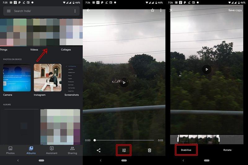 estabilizar video en fotos de google