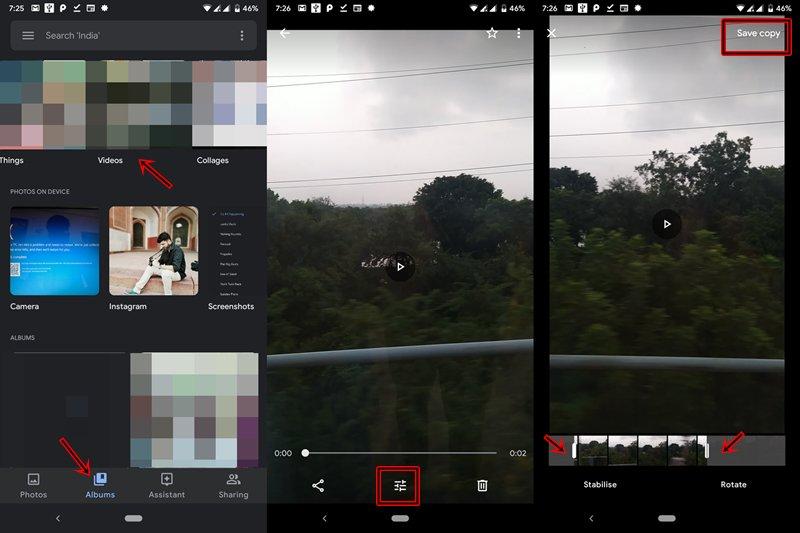 video de viaje en google photos