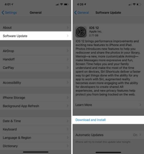 İPhone'u iOS 12-ə yeniləyin