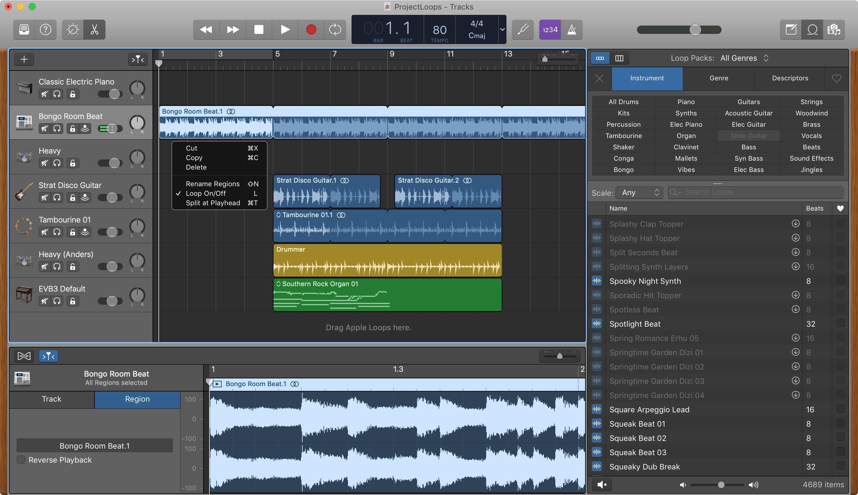 GarageBand Loop təkrar bölgə Mac
