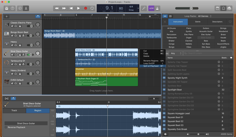 Mac Playhead bölgəsində GarageBand Split