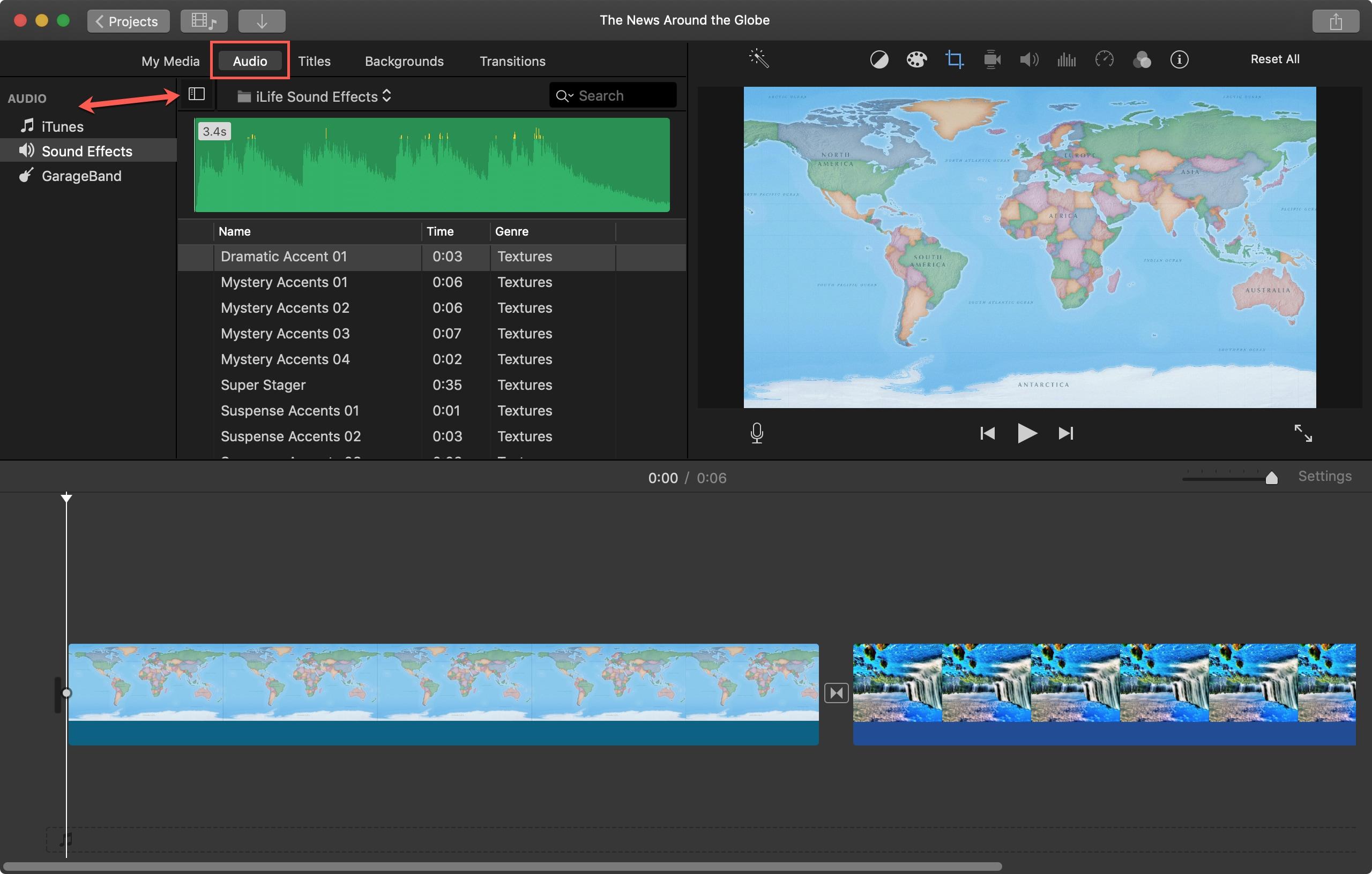 İMovie Mac səs seçimlərini açın