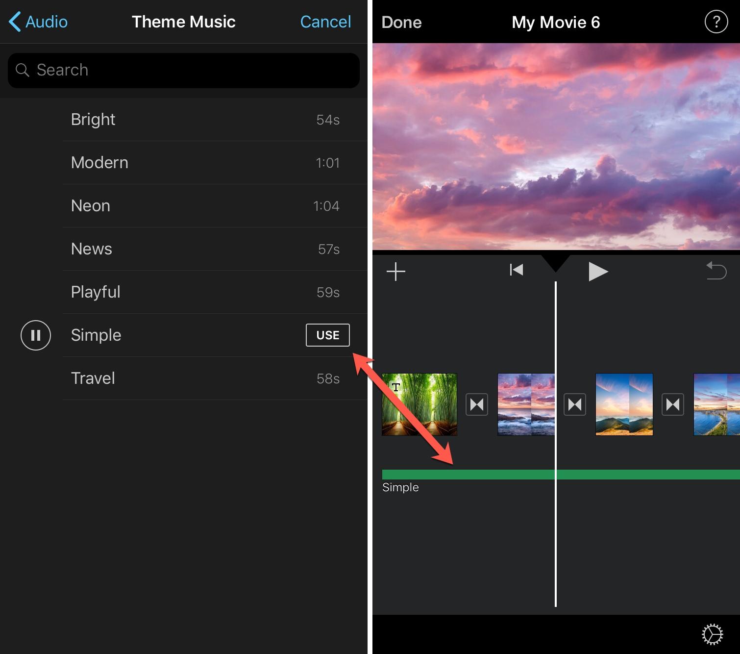 İPhone iMovie Audio əlavə edin